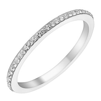 Evoke Rhodium-Plated Swarovski Crystal Set Ring - Product number 3730441