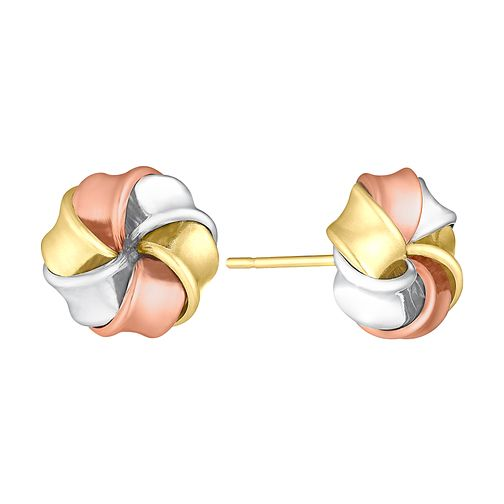 9ct Gold, White Gold & Rose Gold Large Knot Stud Earrings - Product number 3733114