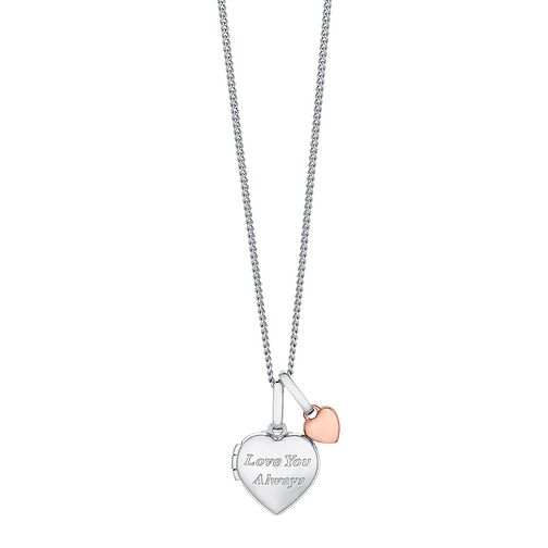 "Sterling Silver & 9ct Rose Gold Heart Locket With 18"" Chain - Product number 3733246"