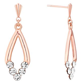 9ct Rose Gold Crystal Set V Drop Earrings - Product number 3733599