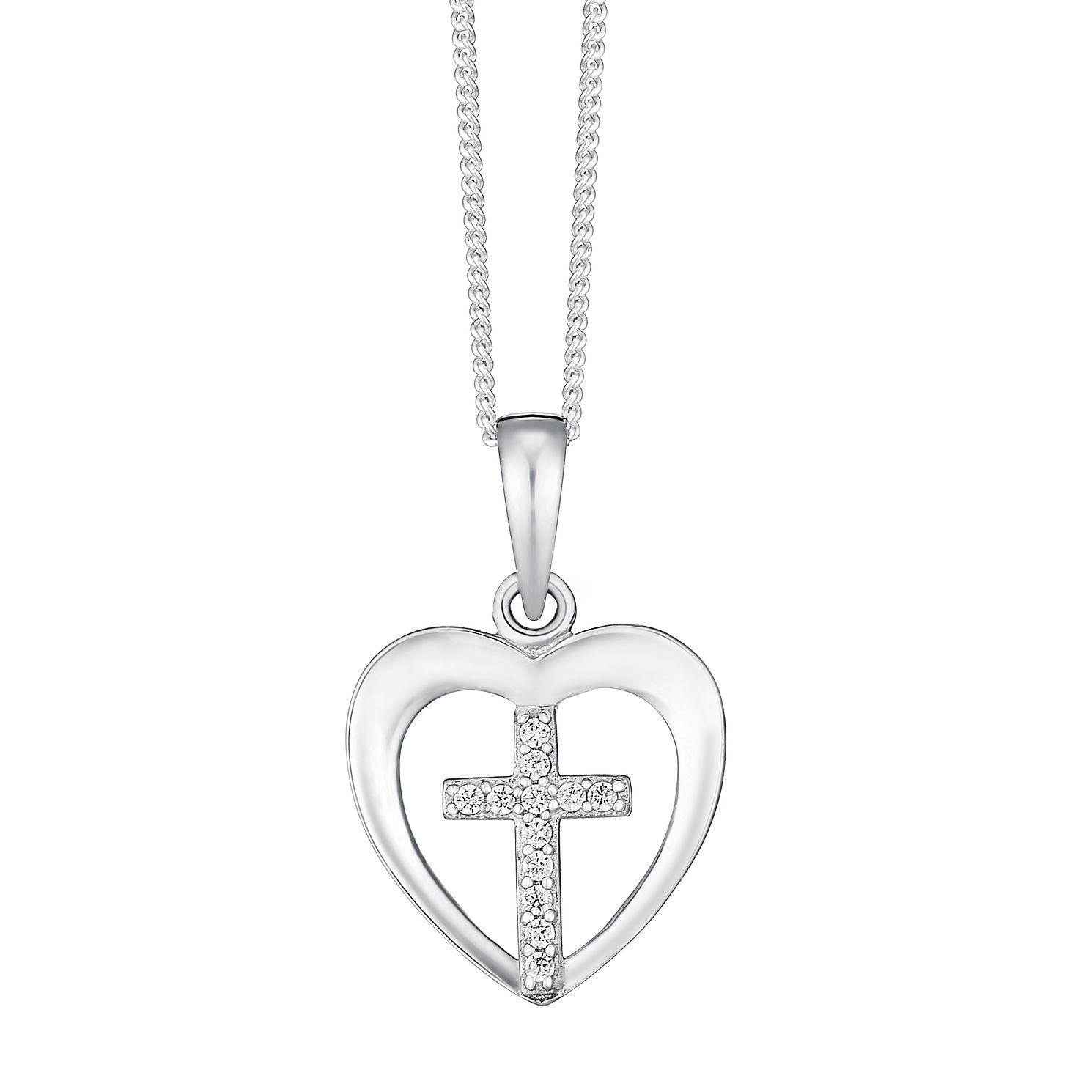 Sterling Silver & Crystal Heart With Cross Pendant - Product number 3737993
