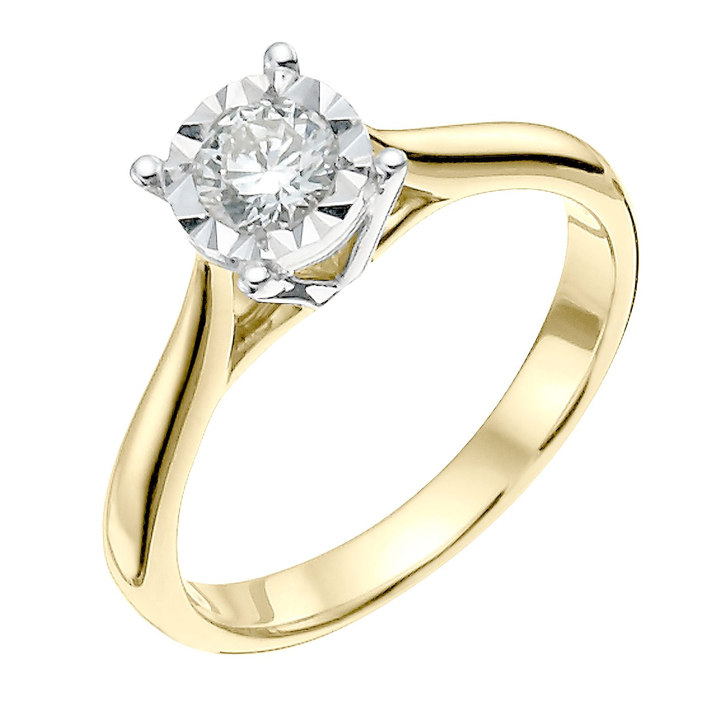 9ct Yellow Gold 0.33ct Diamond Solitaire Ring - Product number 3742768