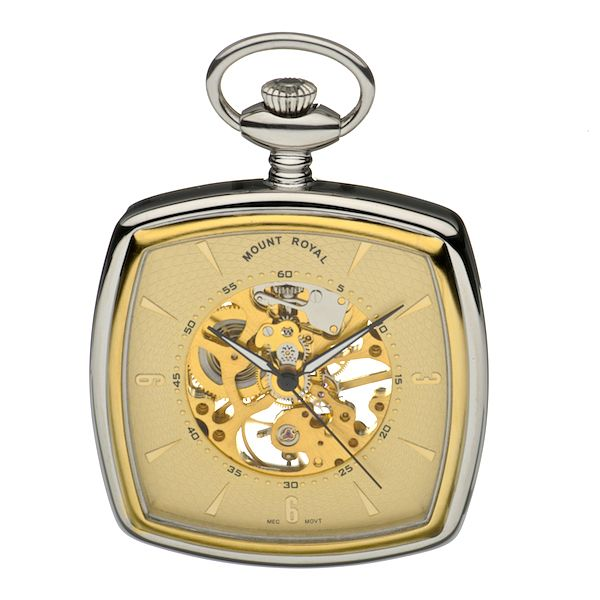 Mount Royal Two Colour Square Skeleton Pocket Watch - Product number 3745619