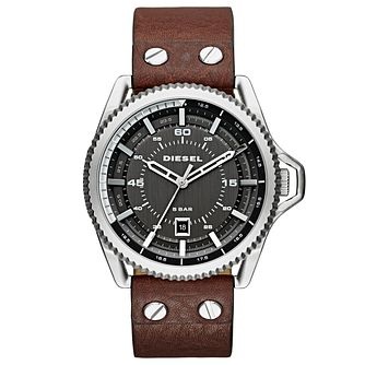 Diesel Rollcage Men's Brown Leather Strap Watch - Product number 3745635