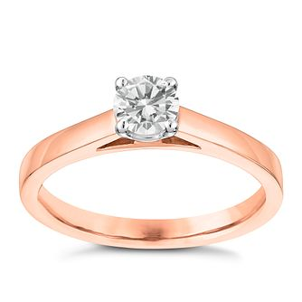 18ct Rose Gold 0.40ct Claw Set Solitaire Diamond Ring - Product number 3746518
