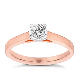 18ct Rose Gold 0.50ct Diamond Solitaire 4 Claw Ring - Product number 3749037