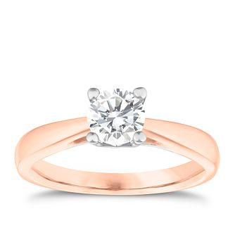 18ct Rose Gold 0.66ct Diamond Solitaire 4 Claw Ring - Product number 3749231