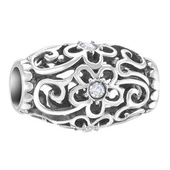 Chamilia Sterling Silver Stone Set Floral Filigree Charm - Product number 3757137