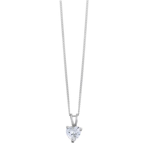 Sterling Silver & Heart Shaped Cubic Zirconia Drop Pendant - Product number 3760162