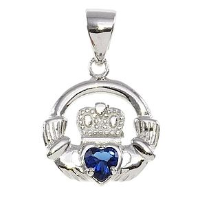 Cailin Silver & Blue Cubic Zirconia Claddagh Pendant - Product number 3762572