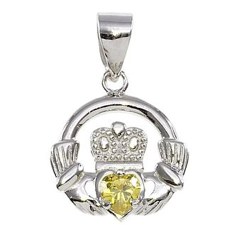 Cailin Silver & Yellow Cubic Zirconia Claddagh Pendant - Product number 3762599