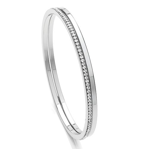 Buckley London Rhodium-Plated Stone Set Bangle Duo - Product number 3762726
