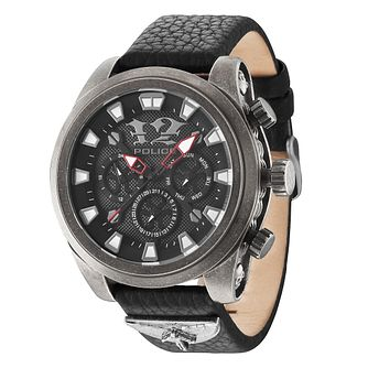 Police Men's Black Dial Black Leather Strap Watch - Product number 3763072