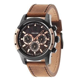 Police Men's Brown Dial Brown Leather Strap Watch - Product number 3763161