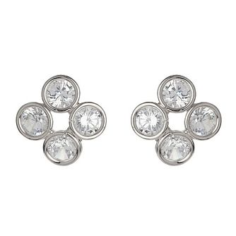 Mikey Silver Tone Four Stone Stud Earrings - Product number 3763242