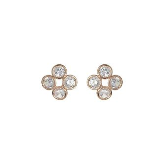 Mikey Rose Gold Tone Four Stone Stud Earrings - Product number 3763358