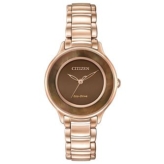 Citizen Eco-Drive Ladies' Rose Gold-Plated Bracelet Watch - Product number 3777502