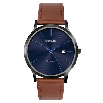 Sekonda Date Brown Leather Strap Watch - Product number 3778223