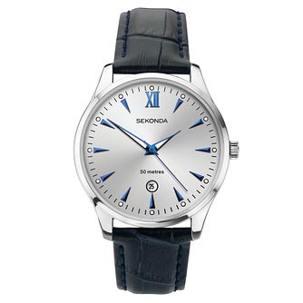 Sekonda Date Dark Blue Leather Strap Watch - Product number 3778231