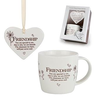 Friendship Ceramic Mug & Hanging Heart Ornament Gift Set - Product number 3782913