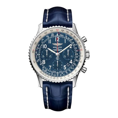 Breitling Navitimer GMT Men's Blue Leather Strap Watch - Product number 3784363