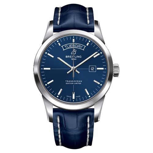 Breitling Transocean Day and Date Men's Blue Strap Watch - Product number 3787281