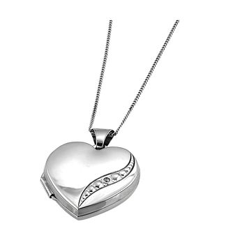 9ct White Gold Diamond Locket - Product number 3800423