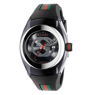 Gucci Sync Black Striped Rubber Strap Watch - Product number 3801365
