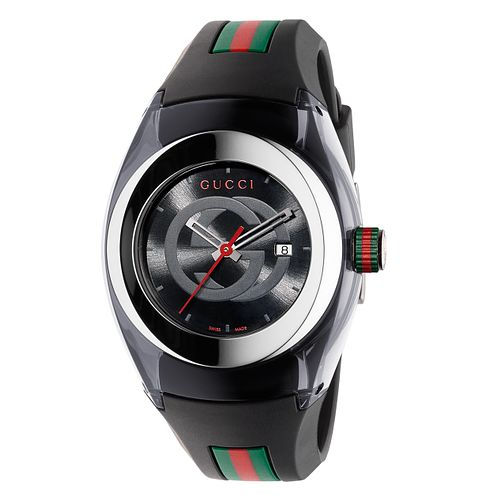 Gucci Sync ladies' black striped rubber strap watch - Product number 3801365