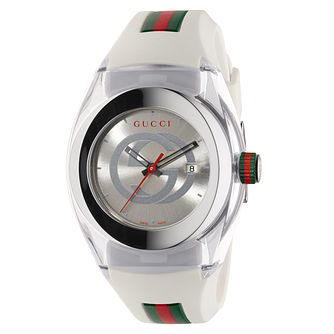 Gucci Sync White Striped Rubber Strap Watch - Product number 3801500