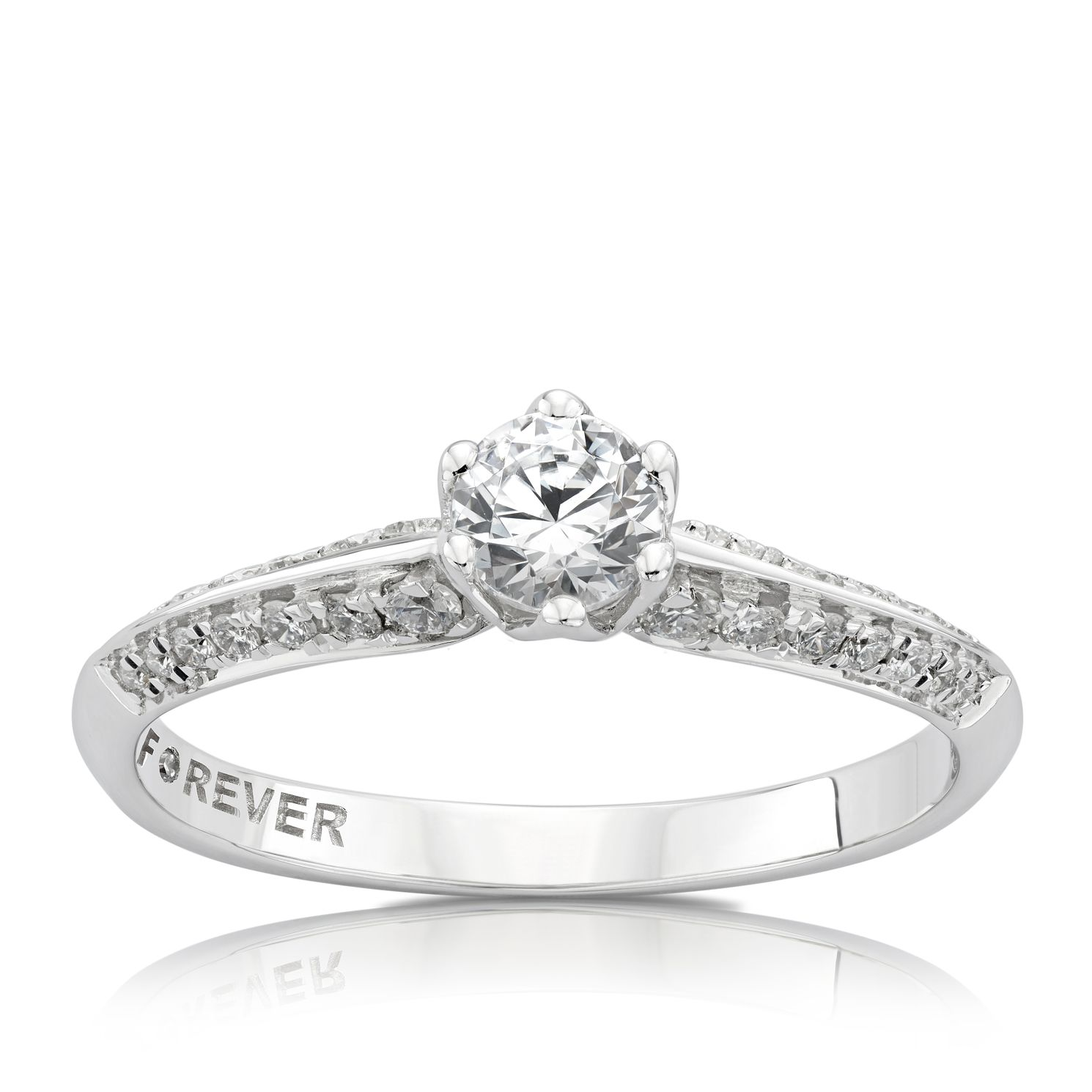 18ct White Gold 1/2ct Forever Diamond Double Row Ring - Product number 3801578