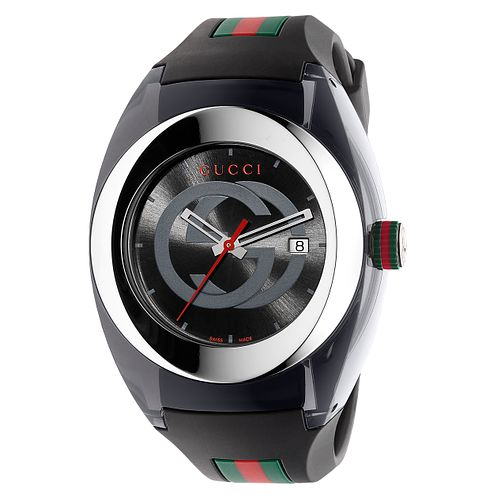 Gucci Sync men's black striped rubber strap watch - Product number 3801608
