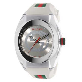 Gucci Sync White Striped Rubber Strap Watch - Product number 3801640