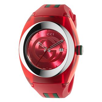 Gucci Sync Red Striped Rubber Strap Watch - Product number 3801691