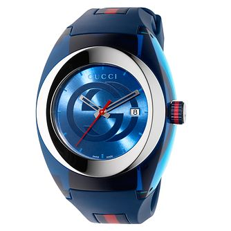 Gucci Sync Blue Striped Rubber Strap Watch - Product number 3801705