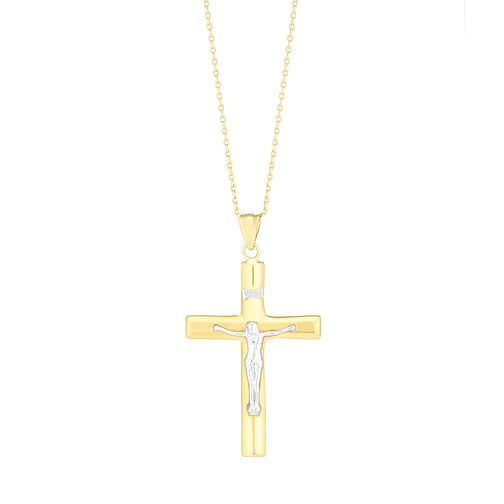 9ct Gold Two Colour Crucifix Pendant - Product number 3802701