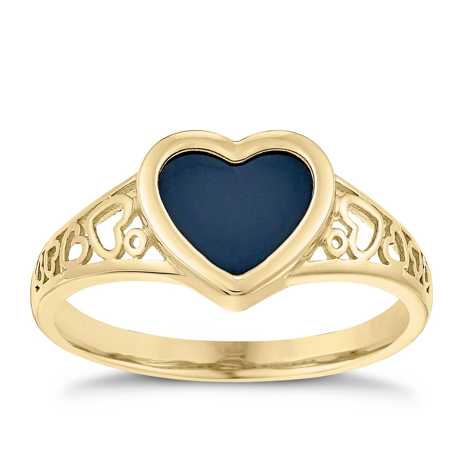 9ct Gold Onyx Heart Signet Ring - Product number 3803430