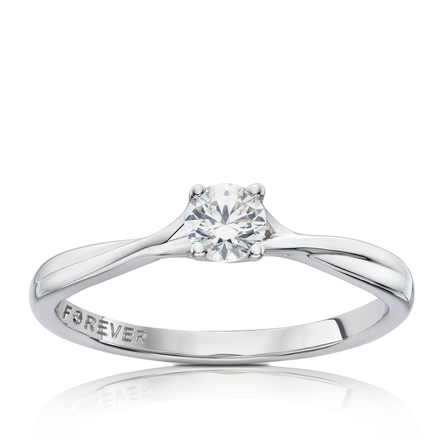 9ct White Gold 1/4ct Forever Diamond Solitaire Ring - Product number 3803783