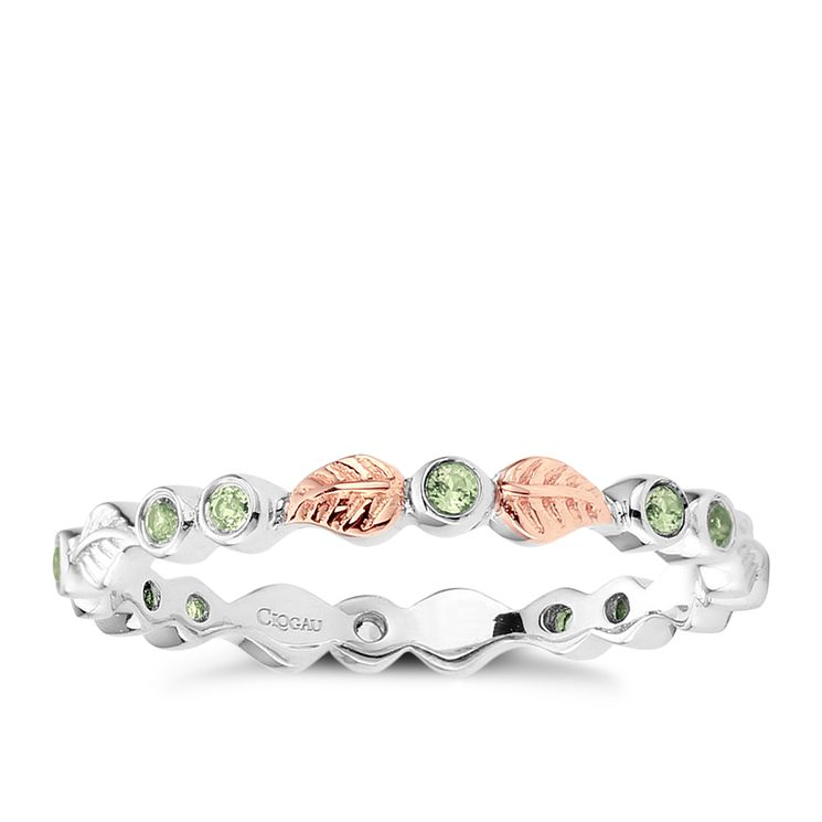 Clogau Sterling Silver & 9ct Rose Gold Peridot Awelon Ring
