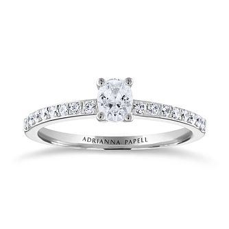 Adrianna Papell 14ct White Gold 1/2ct Oval Diamond Ring - Product number 3809250