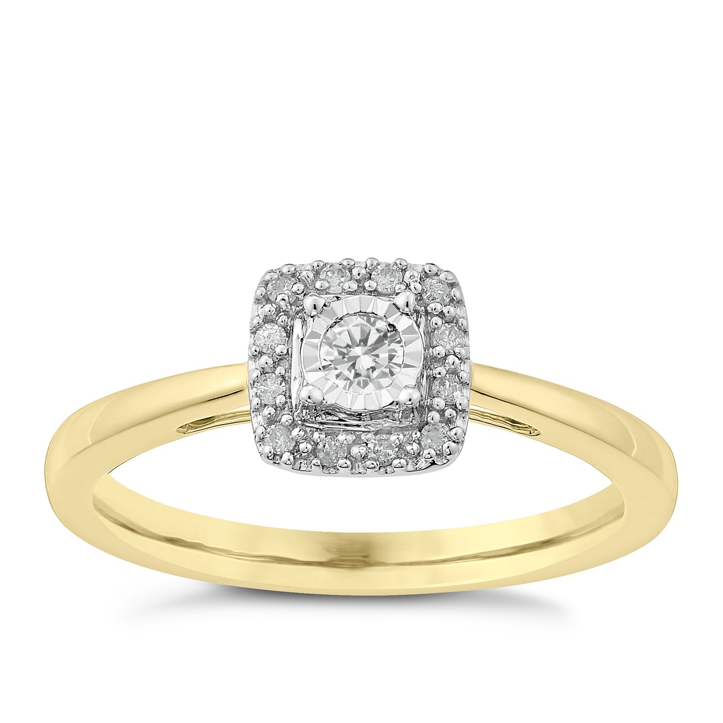9ct Gold Diamond Illusion Solitaire Ring - Product number 3817490