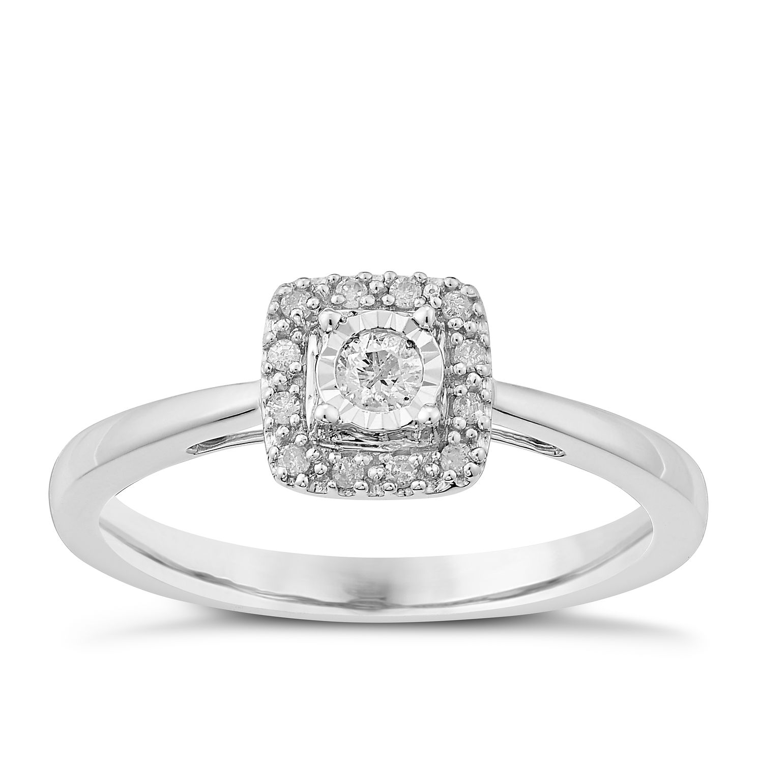 9ct White Gold Diamond Illusion Solitaire Ring - Product number 3817636