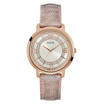 Guess Ladies' Pink Patterned Leather Strap Watch - Product number 3818179