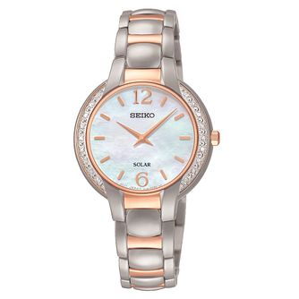 Seiko Solar Ladies' Mother Of Pearl Diamond Bracelet Watch - Product number 3820017