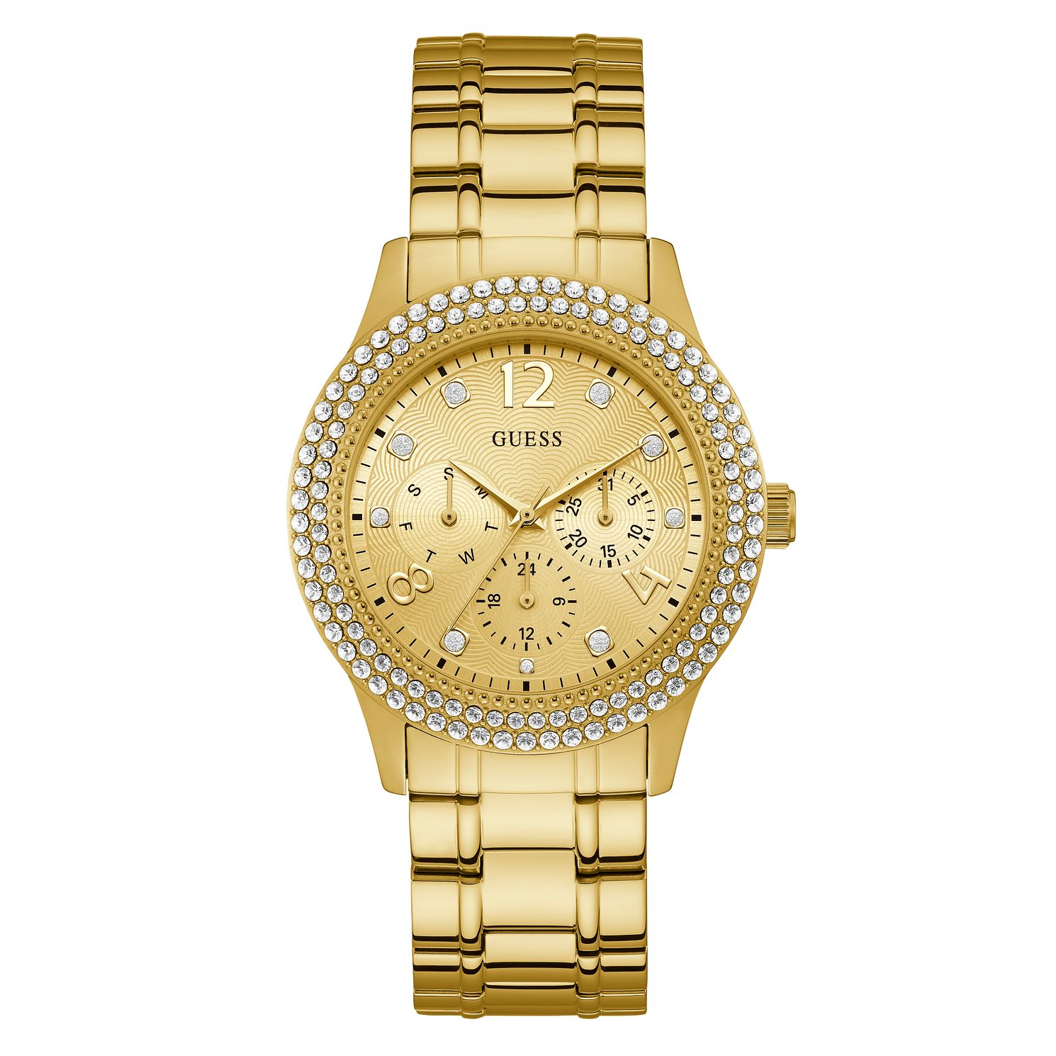 Guess Ladies' Crystal Yellow Gold Plated Bracelet Watch - Product number 3821072
