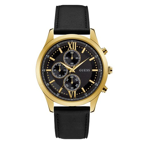 Guess Men's Black Leather Strap Watch - Product number 3821080