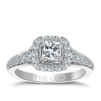 Leo Diamond 18ct white gold 1.10ct I I1 diamond halo ring - Product number 3821943