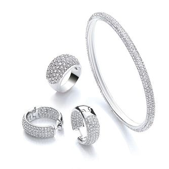 Buckley London Rhodium Plated Bangle, Earring and Ring Set - Product number 3822486