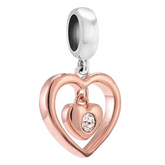 Chamilia Radiant Heart rose gold-plated crystal charm - Product number 3823466