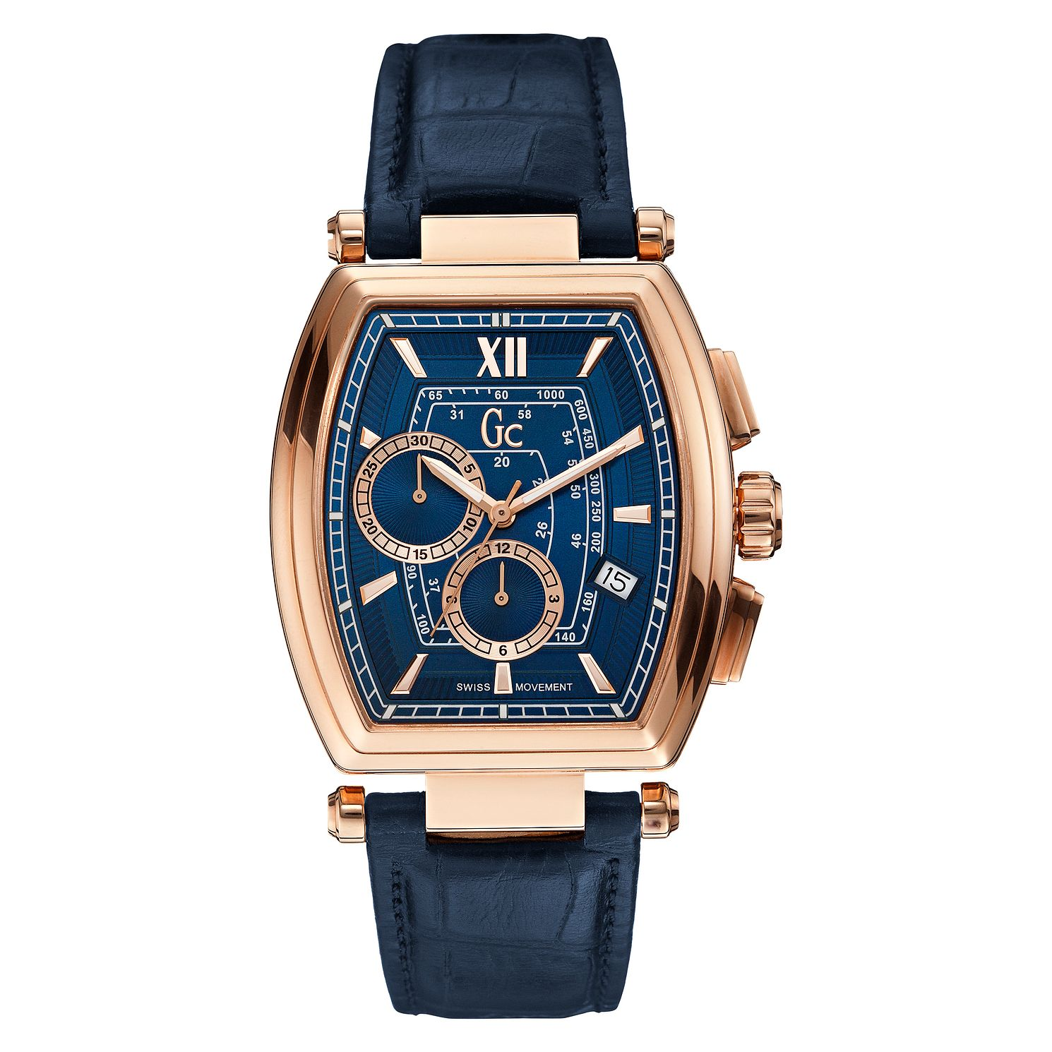Gc Guess Men's Rose Gold Plated Blue Strap Watch - Product number 3824497
